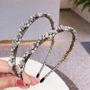 Korean  new rhinestone glass pearl gold wire headband  NHHI265295