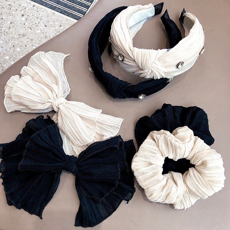 new Korean  simple chic  snow pattern bow  intestine ring  diamond top knot headband NHHI265297