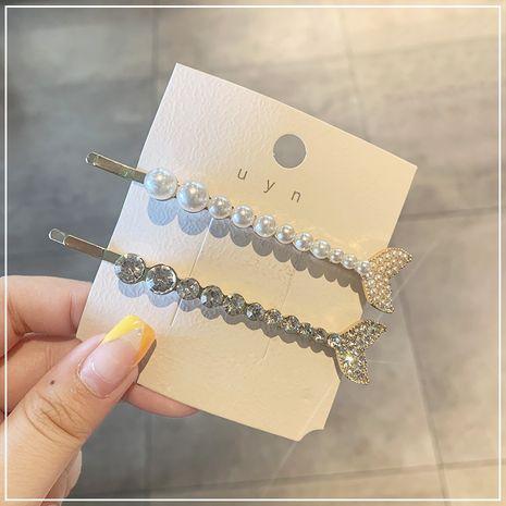 Clip de mot de perle de strass en queue de poisson douce de Corée NHOF265309's discount tags