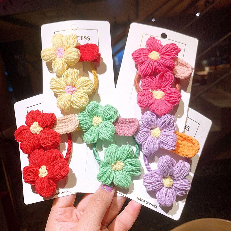 cute handmade wool flower hairpin head rope set  NHSA265324
