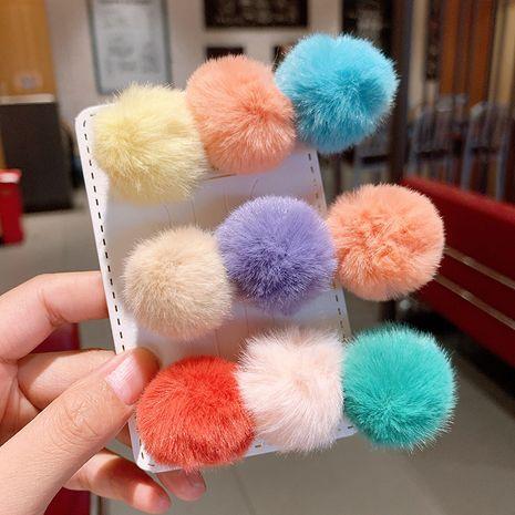 Clip mignon de boule de poils de lapin de couleur bonbon NHSA265326's discount tags