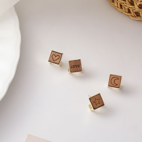 Korea 925 silver needle simple letter star  moon wood square earrings  NHMS265385's discount tags