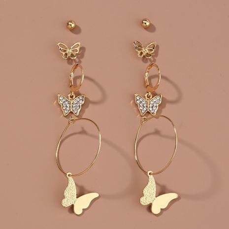 fashion  diamond  butterfly earrings set  NHAN265411's discount tags