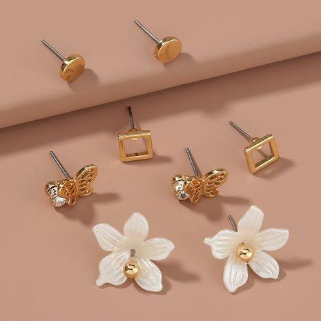 Pendientes de diamantes simples de flor de mariposa coreana NHAN265419's discount tags