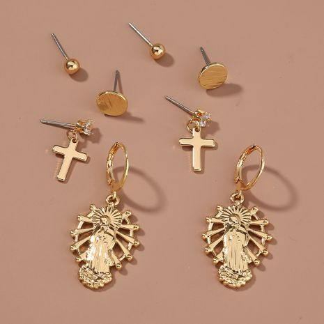 retro cross simple earrings set  NHAN265421's discount tags