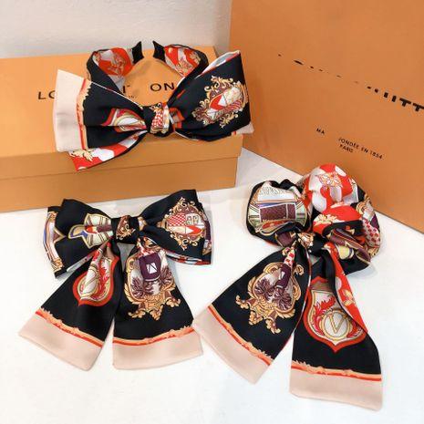Corée totem en soie impression grand arc simple bandeau noir ou chouchous en gros NHHD265424's discount tags