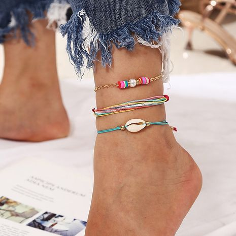 Bohemian multilayer handmade rope shell soft ceramic anklet  NHLA265429's discount tags
