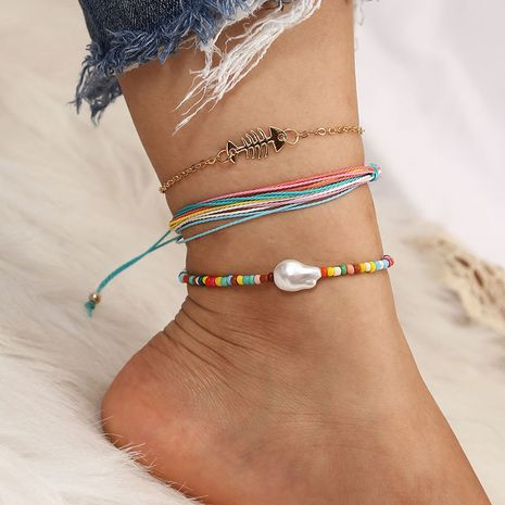 Bohemian Beach Hand-woven Fishbone Rope Multilayer Anklet  NHLA265431's discount tags