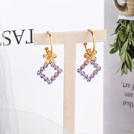 Flower  sweet c-shaped geometric earrings NHQD265459's discount tags