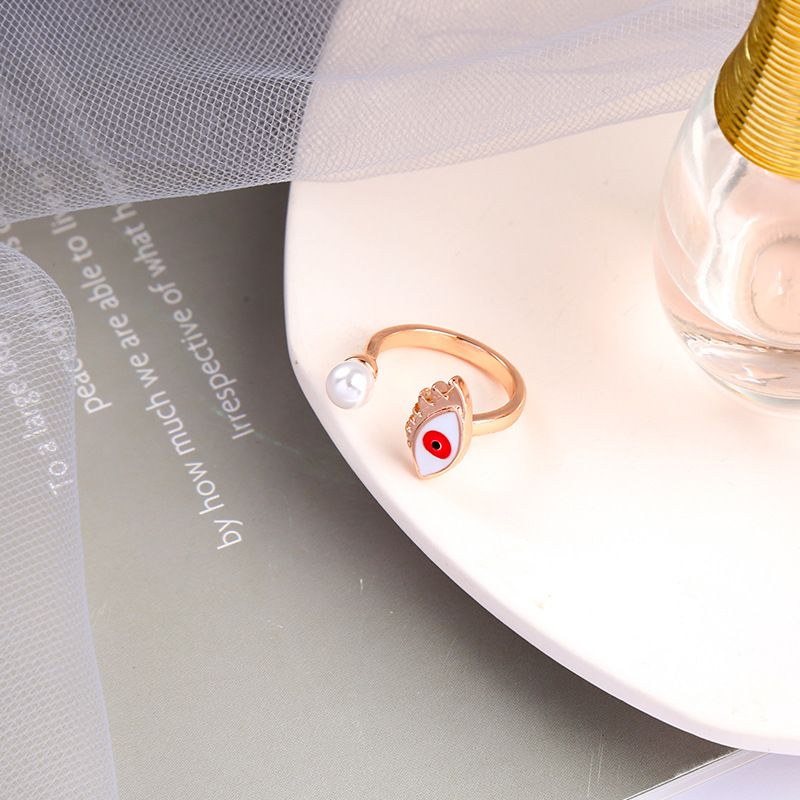 fashion  drip glaze opening adjustable pearl index finger ring  NHQD265468