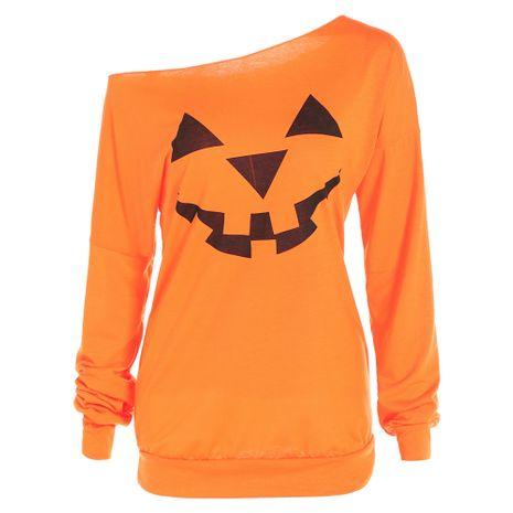 nouveau chandail à manches longues imprimé citrouille d'Halloween NHJG265525's discount tags