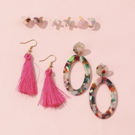 Fashion acrylic exaggerated ear jewelry stars and moon earrings set NHQC265834's discount tags