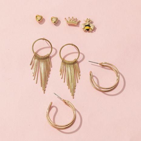 Hot C-shaped Semicircular Crown Little Bee Heart Earrings Set NHQC265835's discount tags