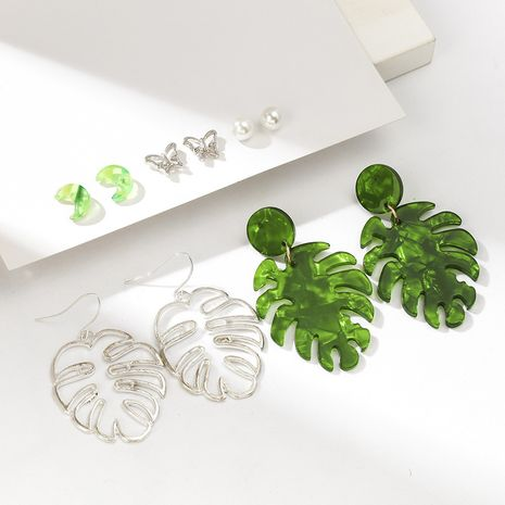 Hollow leaf moon acetate butterfly small earrings set  NHQC265841's discount tags