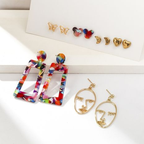 Hollow face portrait exaggerated earrings set wholesale NHQC265837's discount tags