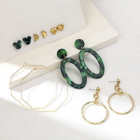 Hollow alloy irregular exaggerated pendant acetate earrings set NHQC265838's discount tags