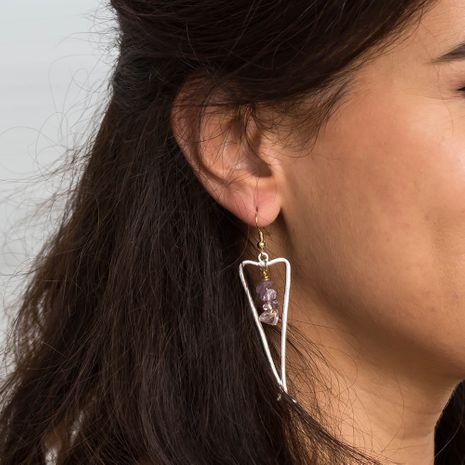 New  metal geometric long sand silver triangle natural stone earrings  NHAN265496's discount tags
