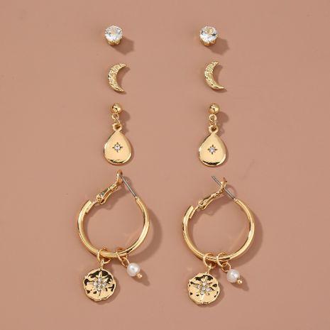 hot-selling  simple  star and moon rhinestone stud earrings NHAN265497's discount tags