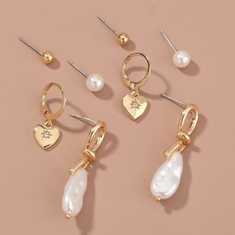 Korean  simple   wild pearl love earrings NHAN265501's discount tags