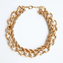 Exaggerated Multilayer Metal Chain Necklace  NHLA265506