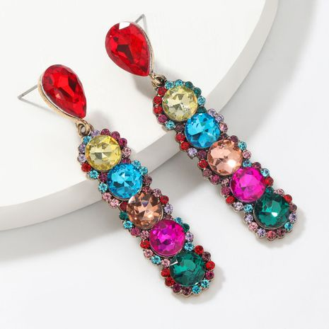 Fashion color diamond  alloy multi-layer round  earrings  NHJE265540's discount tags