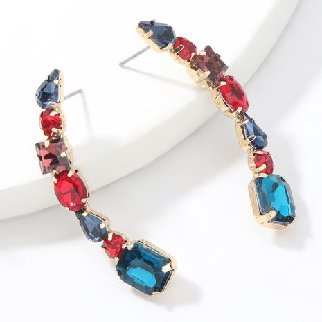 Fashion color curved alloy diamonds  geometric  earrings NHJE265539's discount tags