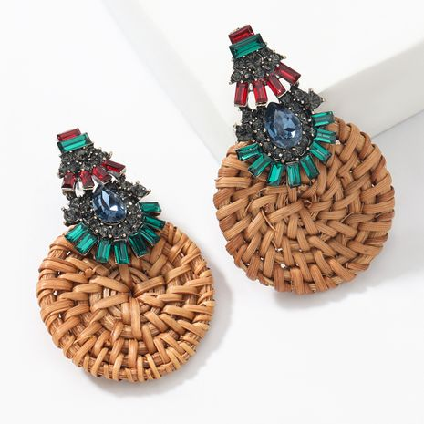 Fashion color diamond  alloy woven rhinestone round  earrings  NHJE265541's discount tags