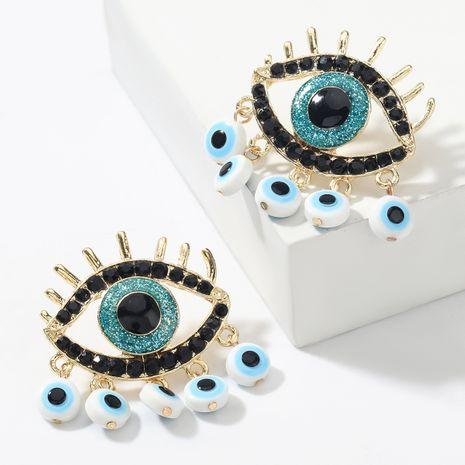 Fashion color alloy diamond eye tassel earrings  NHJE265542's discount tags