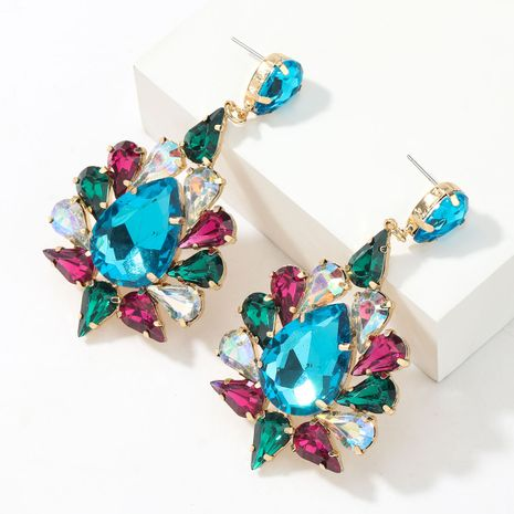 Fashion  drop-shaped glass diamond flower earrings  NHJE265545's discount tags
