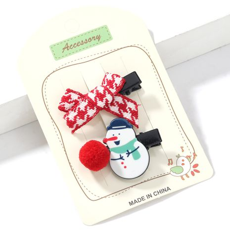 Christmas series resin snowman grosgrain bow hairpin  NHJE265548's discount tags
