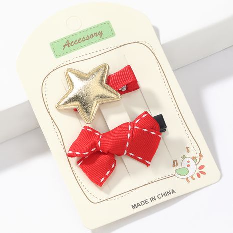 Weihnachtsserie Grosgrain Bowknot Star Duckbill Clip NHJE265550's discount tags