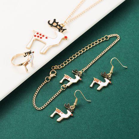 Weihnachtslegierung Tropfen Öl Elch Ohrringe Halskette Ring Armband Set NHLN265561's discount tags