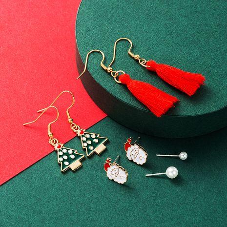 Weihnachten 6-teiliges Set Legierung Perlentropfen Öl Weihnachten Quaste Ohrringe NHLN265562's discount tags