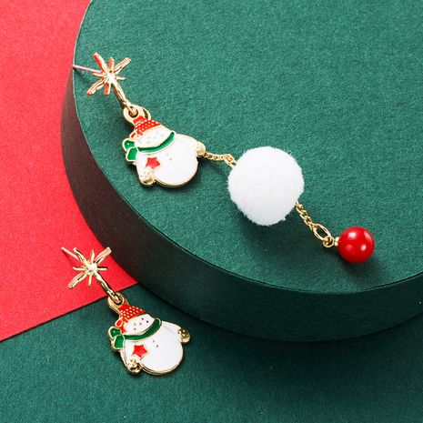 hot selling Christmas  alloy drop oil S925 silver needle asymmetric hair ball earrings NHLN265563's discount tags