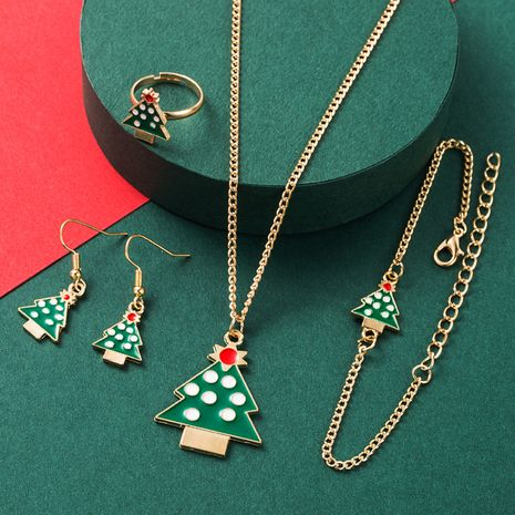 4 piece set of earrings  alloy oil dripping Christmas tree earrings NHLN265564's discount tags