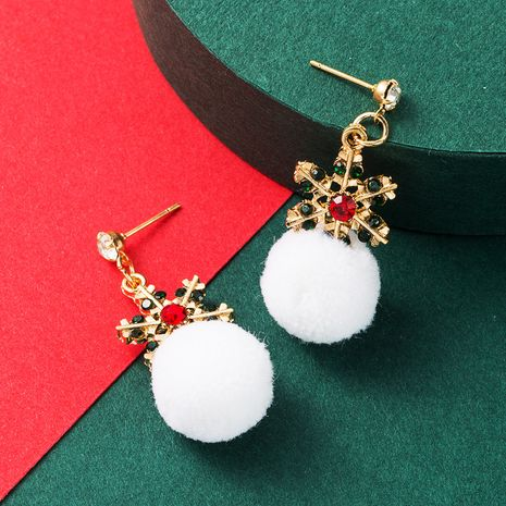 Christmas Series White Hair Ball Alloy Diamond Color Snowflake Earrings  NHLN265566's discount tags