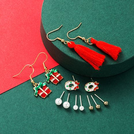 Christmas multi-piece set  alloy pearl drop oil  earrings NHLN265567's discount tags