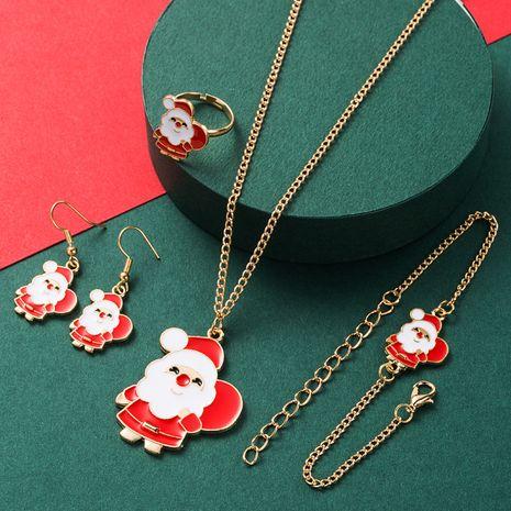 new Christmas 4 piece set alloy drip oil Santa  earrings NHLN265569's discount tags