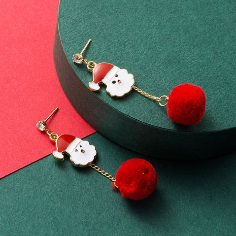 Christmas alloy dripping oil cute snowman red fur ball earrings  NHLN265568's discount tags