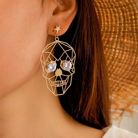new   exaggeration popular funny Halloween golden skull face earrings  NHGY265577's discount tags