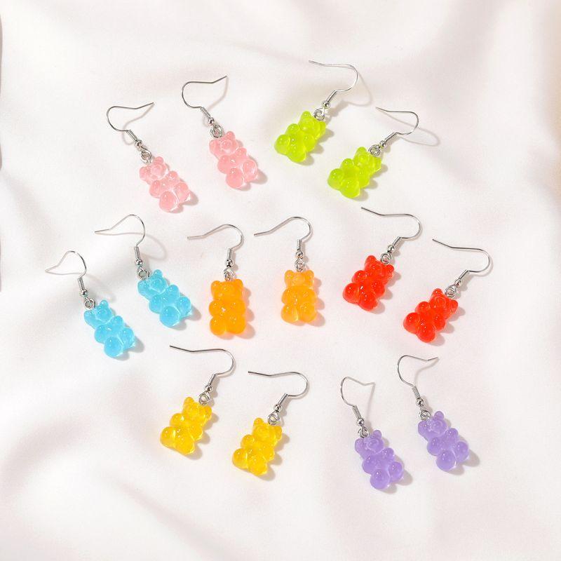retro color cartoon bear  soft cute gummy earrings NHDP265579