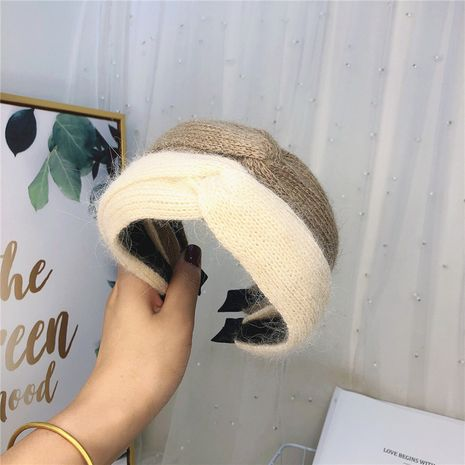 Korea  new  cashmere  cross  knot broad-brimmed headband NHRH265605's discount tags