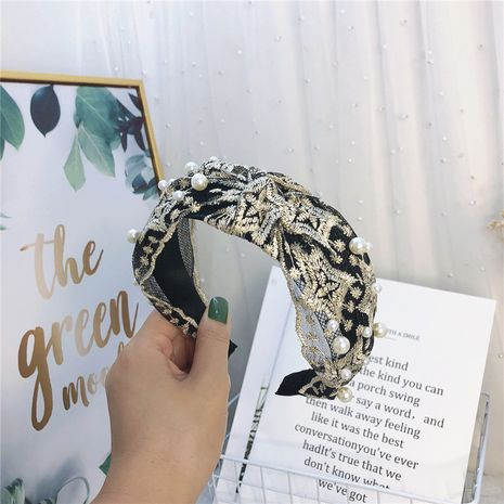 Diadema de nudo medio simple de tela de perlas de encaje de Corea NHRH265606's discount tags