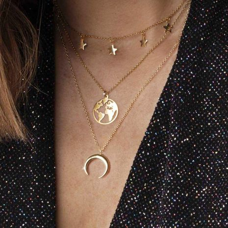 new alloy  creative stars moon map multilayer necklace NHPJ265621's discount tags