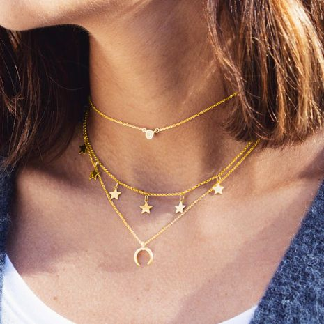 New  Creative Simple  Star Moon  Multilayer Necklace NHPJ265623's discount tags