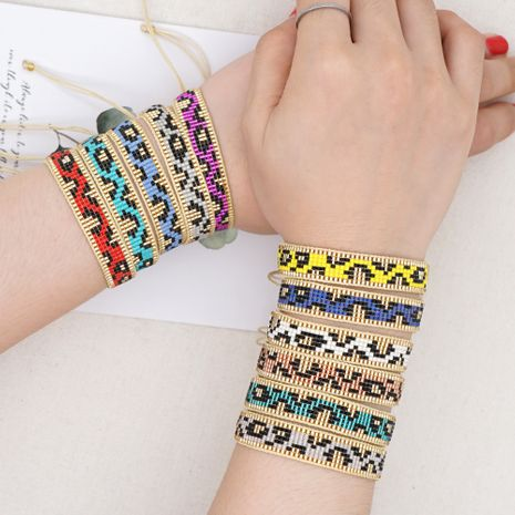 simple retro ethnic style multicolor leopard pattern wide bracelet  NHGW265642's discount tags