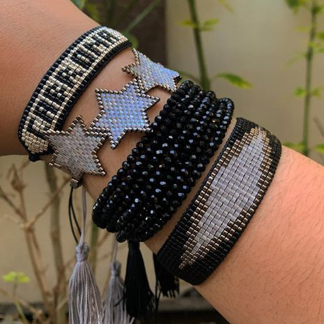 tassel multi-layered punk style letter  Miyuki rice beads woven bracelet  NHGW265643's discount tags