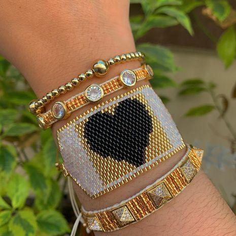 Miyuki  rice bead woven  multi-layered punk style gold bead rivet love bracelet NHGW265645's discount tags