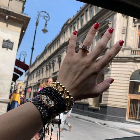 Miyuki rice beads woven devil's eyes  multi-layered crystal tassel rivet bracelet NHGW265649's discount tags