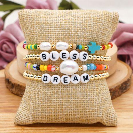 bracelet à plusieurs couches de perles d'eau douce naturelles baroques simples NHGW265653's discount tags